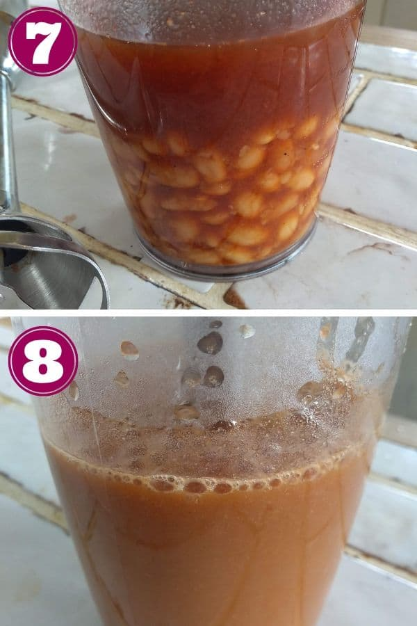 Puree 2 cups of the beans