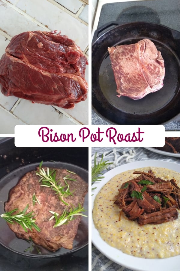 Bison Pot Roast Collage photo from beginning to end