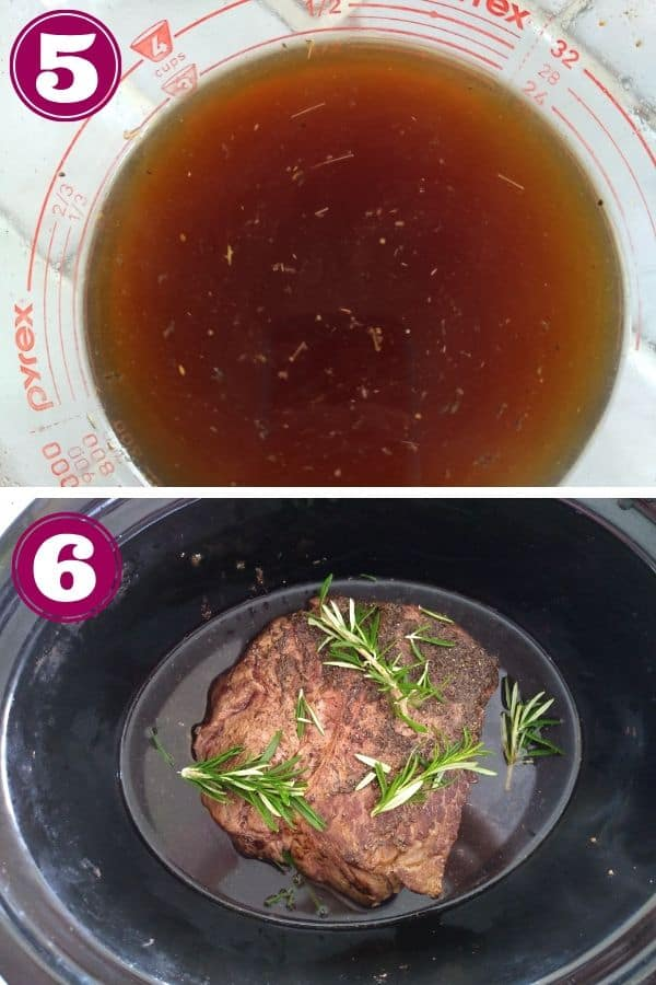 Add flavorful liquid to slow cooker with bison roast