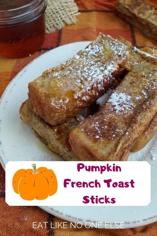 Pumpkin French Toast Sticks dusted with powdered sugar
