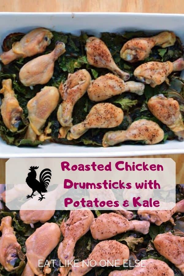 Roasted Chicken Drumsticks with Potatoes, Dill, and Kale