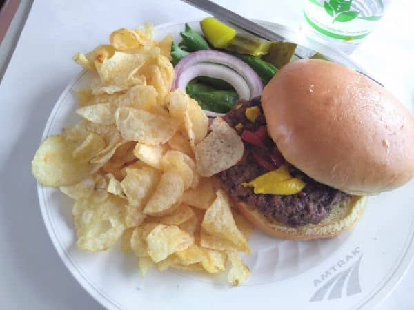 Angus burger with kettle chips from the dinning car.