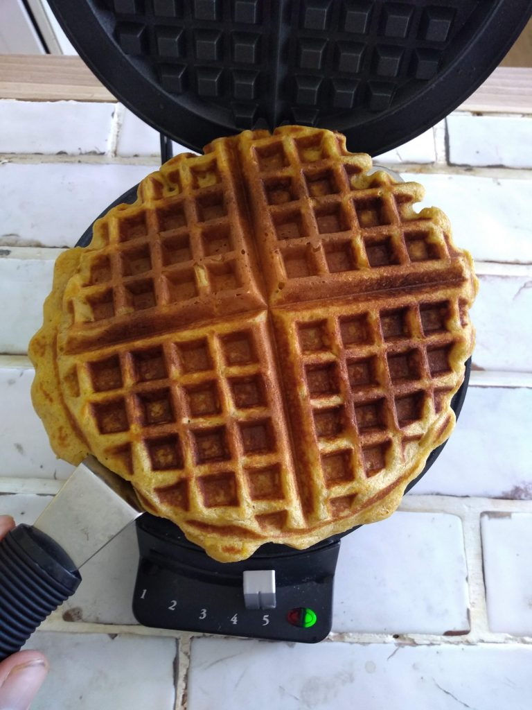 Waffle cooked ready to be removed