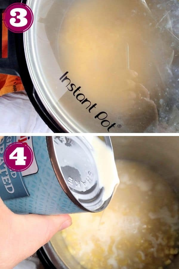 Step 3 shows putting a glass Instant Pot lid on Step 4 shows pouring in the evaporated milk