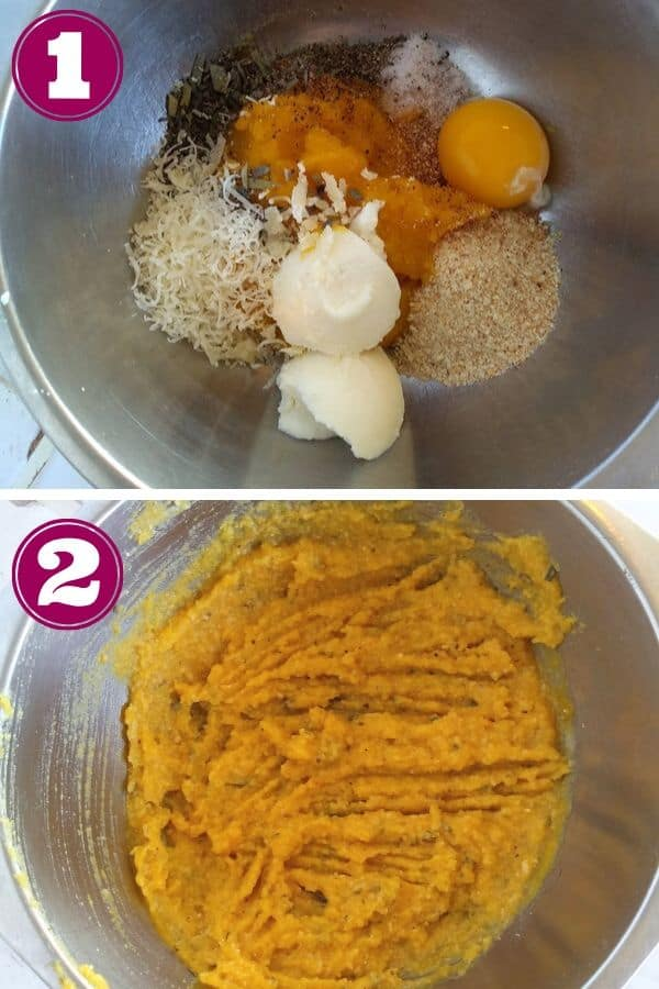 Mixing together the ingredients for the pumpkin filling