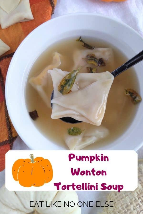 Pumpkin Wonton Tortellini Soup