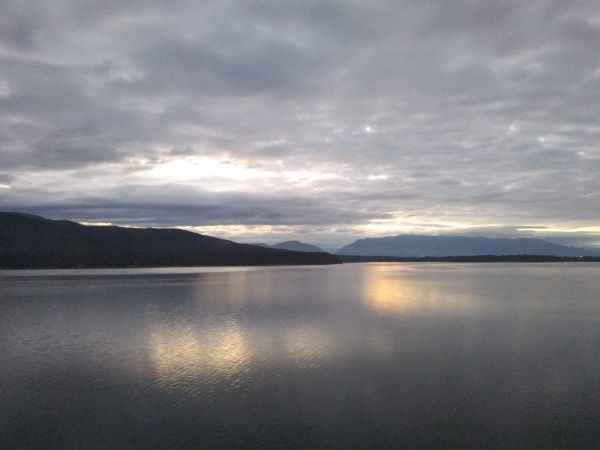 Sunrise over the water in Montana