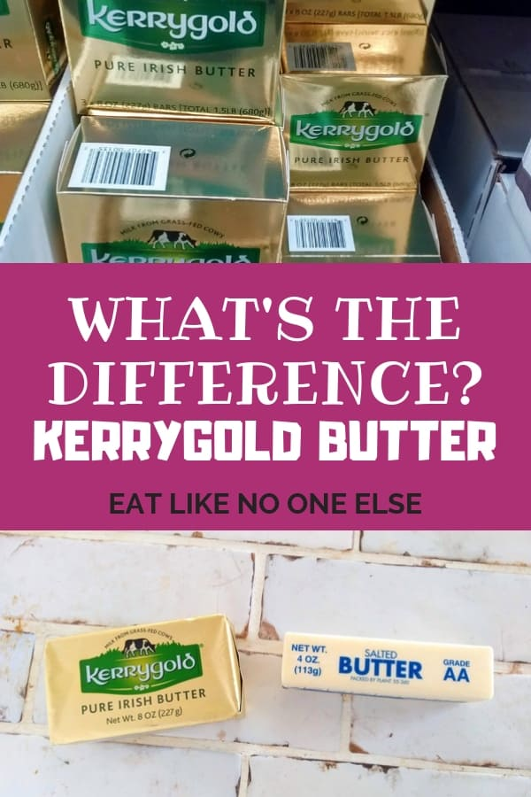 "Appearing in text in the middle is the words ""What is the Difference Between Kerrygold vs Regular Butter"". Packages of Kerrygold butter on top with a picture of it next to regular butter on the bottom."
