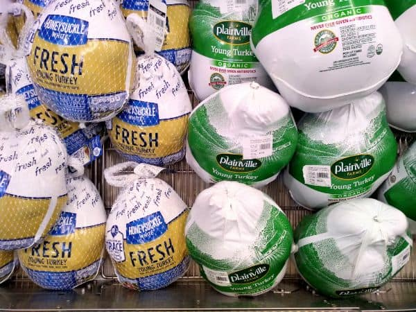 Fresh turkeys on display at a grocery store