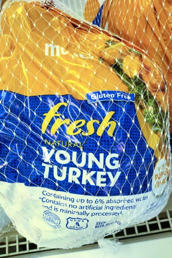 A Fresh Meijer Young Turkey is shown in the packaging