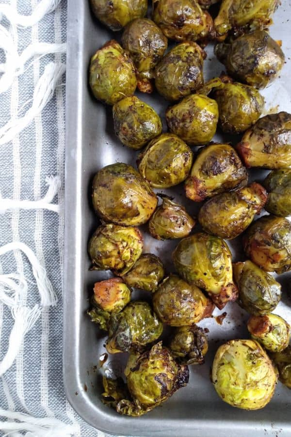 Sous Vide Brussels Sprouts on a tray