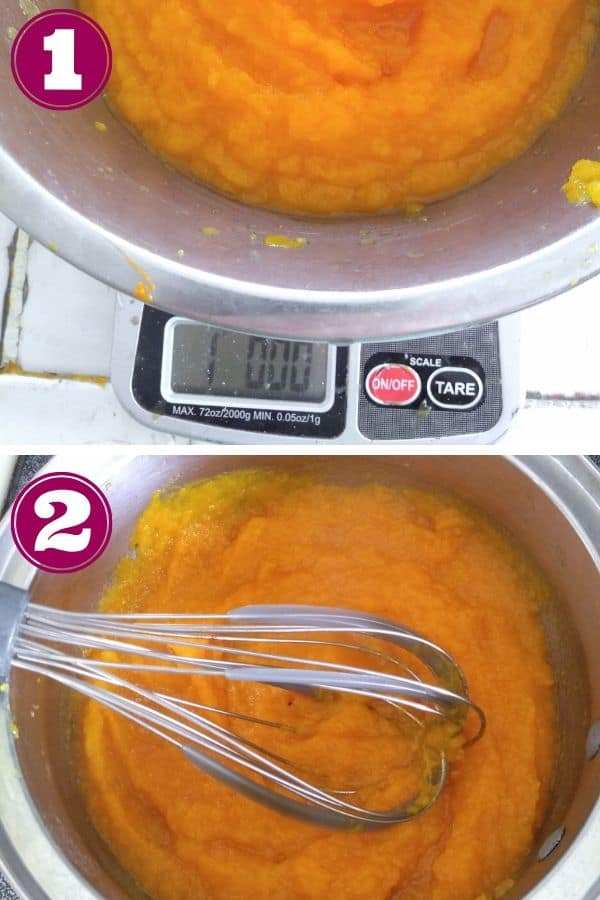 Weight out 1 pound of pumpkin puree, then thicken in a pot
