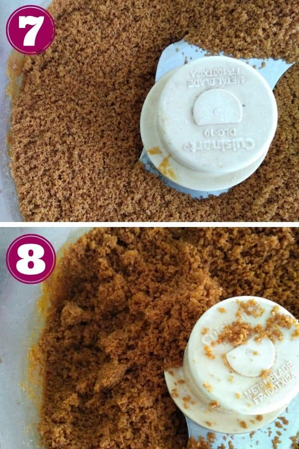 Pulsing ginger snaps in food processor