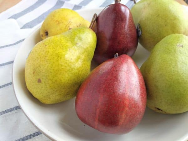 Bowl of Bartlett, Red D'Anjou, and D'Anjou Pears