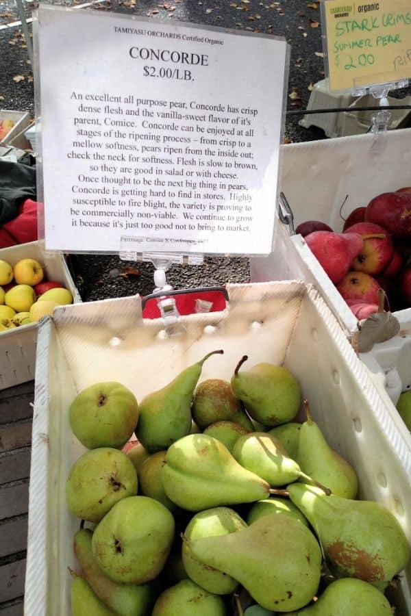 Concorde Pears at the Farmer's Market