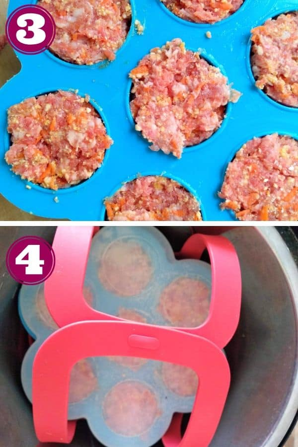 Adding meatloaf to egg bite molds and placing in the Instant Pot with the trivet and a sling.