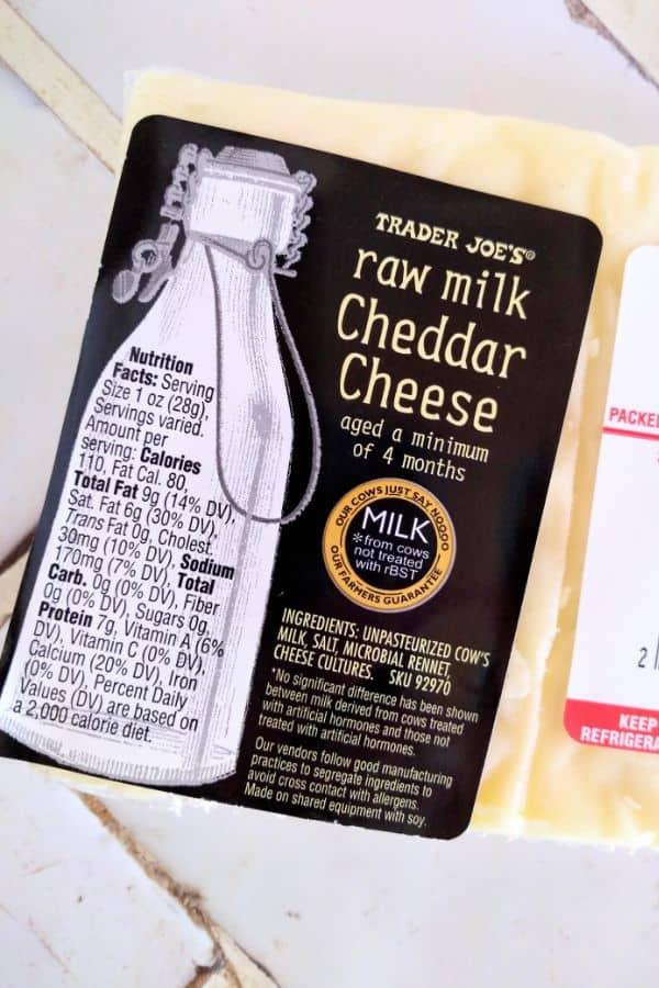 Trader Joe's Raw Milk Cheddar Cheese