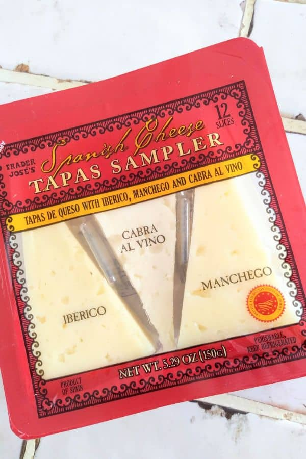 Trader Joe's Spanish Cheese Tapas Sampler in a red package.