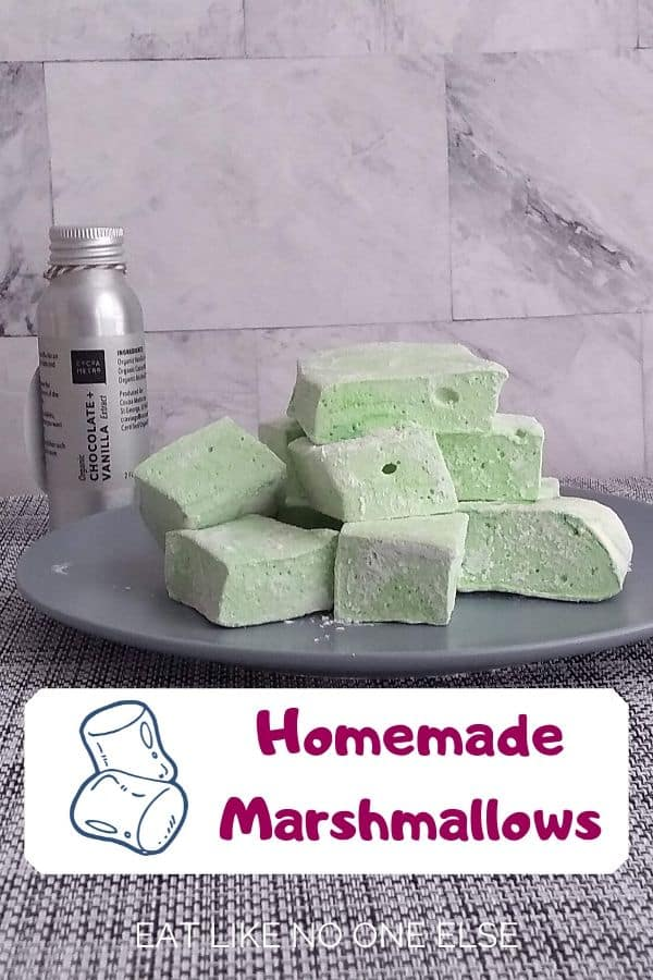 Homemade Marshmallows on a gray plate