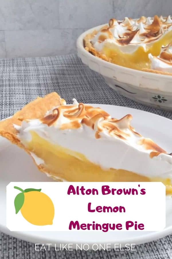 Alton Brown's Lemon Meringue Pie with a slice taken out