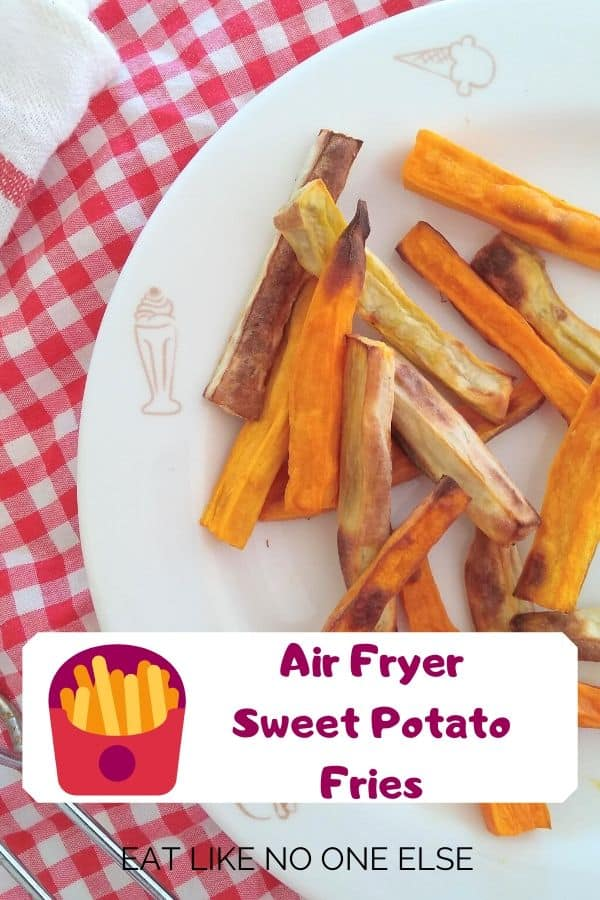 Air Fryer Orange and White Sweet Potato Fries on a white plate on top of a red checkered towel.