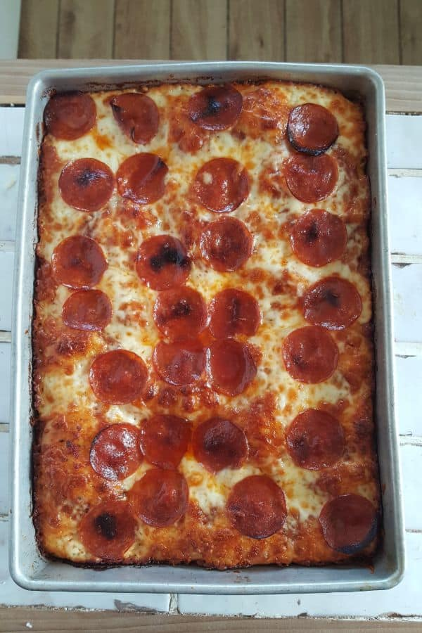 Detroit Style Pan Pizza made with brick cheese