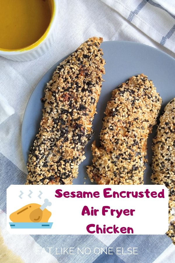 Sesame Encrusted Chicken Tenders on a plate with honey mustard dipping sauce