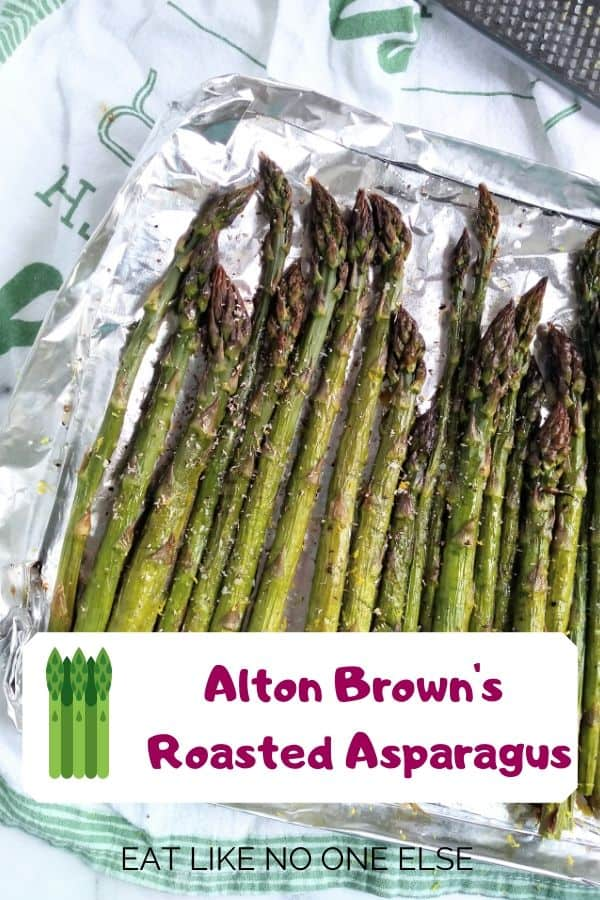 Alton Brown's Roasted Asparagus recipe made in a homemade foil pan