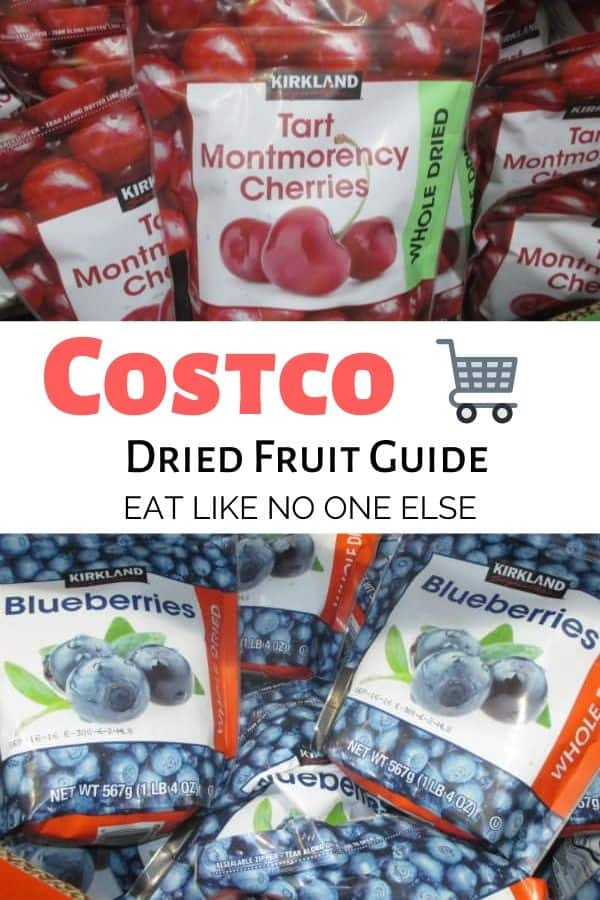 A guide to Costco dried fruit with a picture of cherries on top and blueberries underneath.