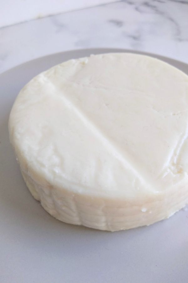 Panela cheese on a gray plate
