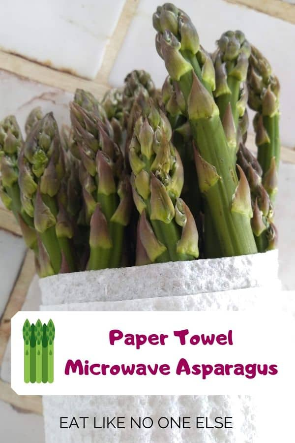 Raw Asparagus wrapped in a wet paper towel