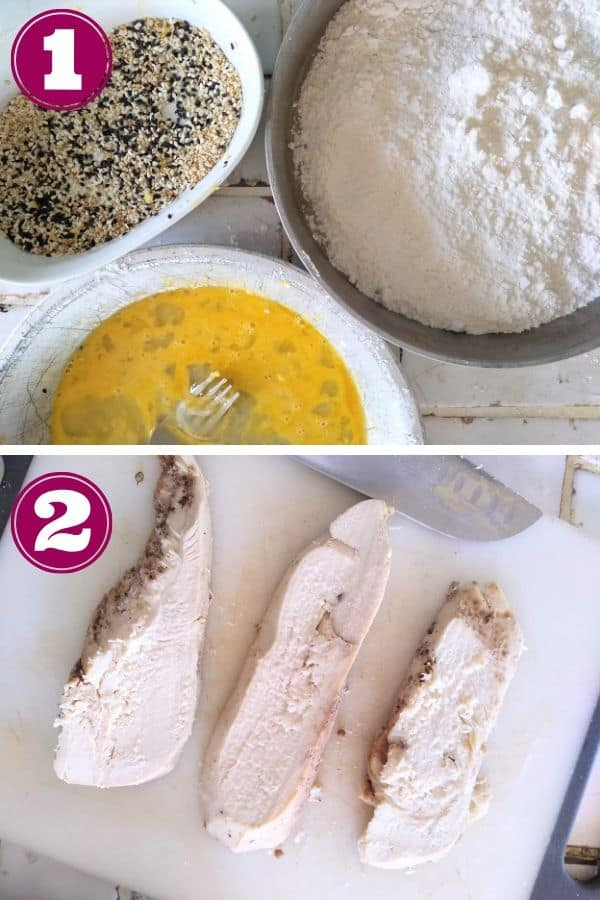 Put flour, eggs, and sesame seeds in separate bowls. Cut chicken into strips.