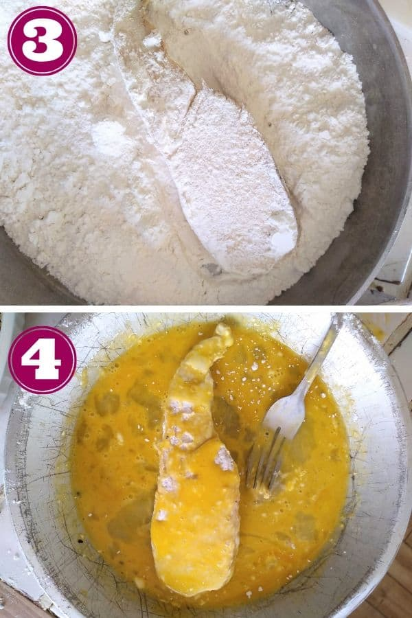 Chicken into the flour first, then the eggs