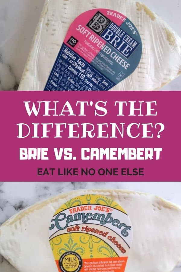 What's the Difference Between Brie and Camembert written in the middle with a picture of Brie on top and Camembert underneath