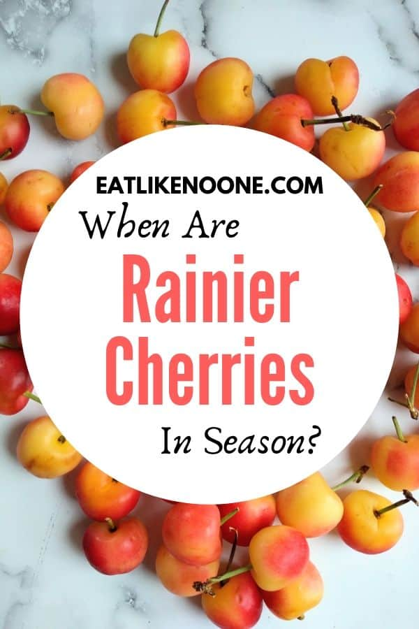 Rainier cherries with a logo in the middle saying When are Rainier Cherries in Season?