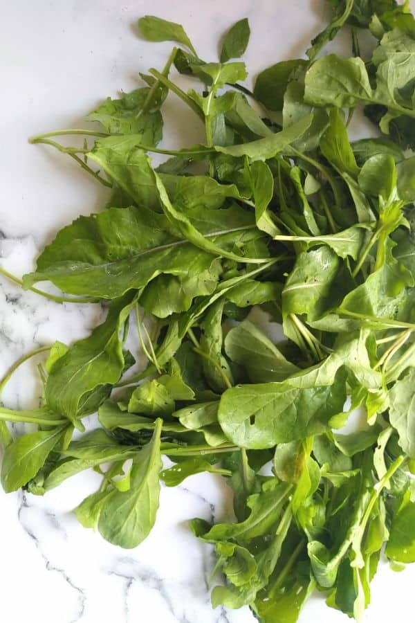 Fresh arugula on a white background