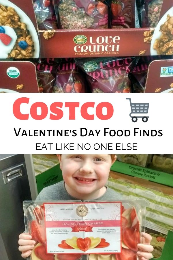 Costco Valentine's Day Food Finds text in the middle with Nature's Path Love Crunch Granola on top and Heart Shaped ravioli underneath.