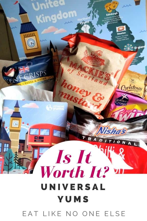 "The UK Box of Universal Yums with the words ""Is it Worth It"" Universal Yums"" overlayed."