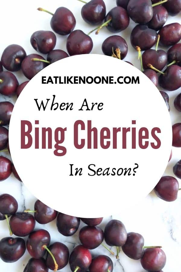 Bing cherries on a white background with a logo in front that reads when are Bing Cherries in Season?