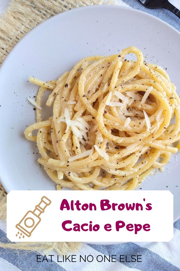 Alton Brown's Cacio e Pepe recipe made on a flat with a towel underneath