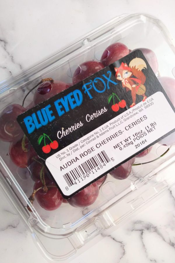 Audra Rose Cherries in a plastic container that from Blue Eyed Fox