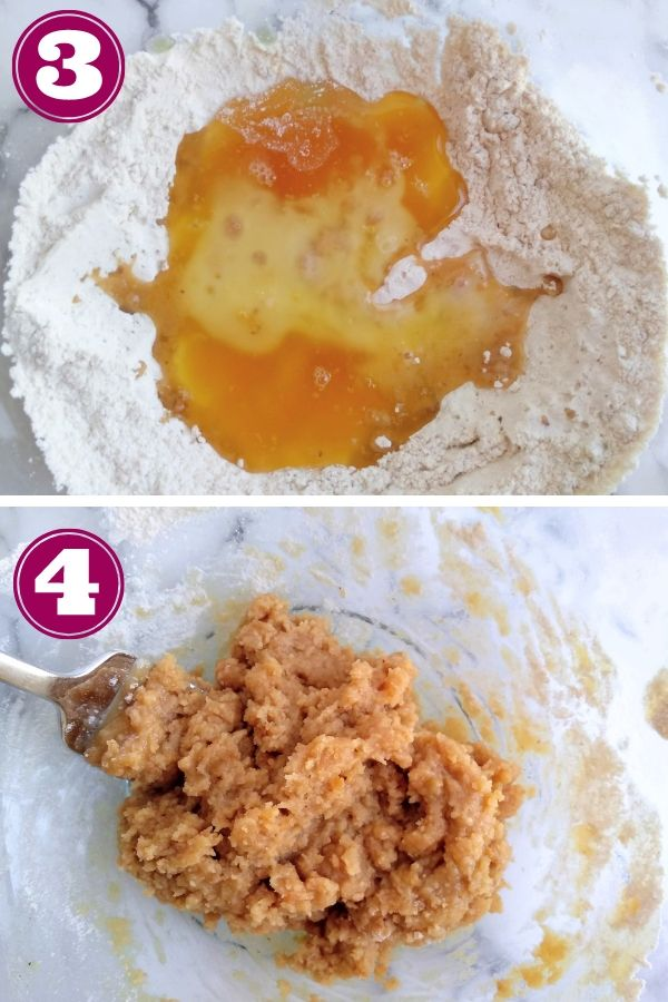 Maple syrup and melted butter are added to the bowl. Picture shows them separate then mixed together.