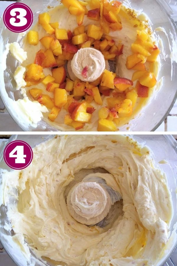 Step 3 showing peaches added to the butter and step 4 with the peaches mixed into the butter