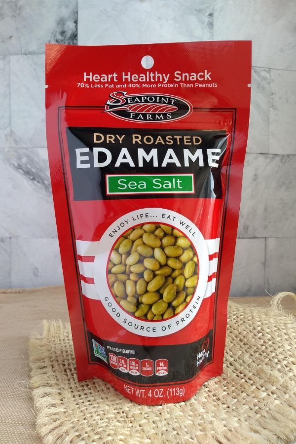 Seapoint Farms Dry Roasted Sea Salt Edamame in red resealable bag