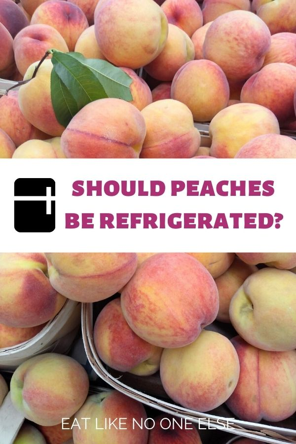 """Baskets of peaches with the words """"Should Peaches Be Refrigerated"""" in the middle."""