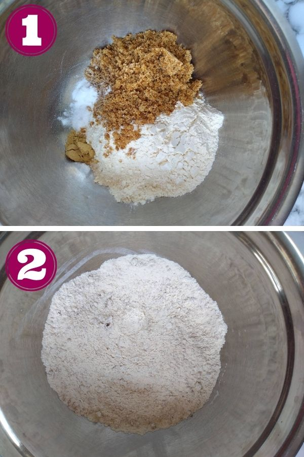 Step 1 photo - add all the dry ingredients into a mixing bowl Step 2 photo - mix ingredients together
