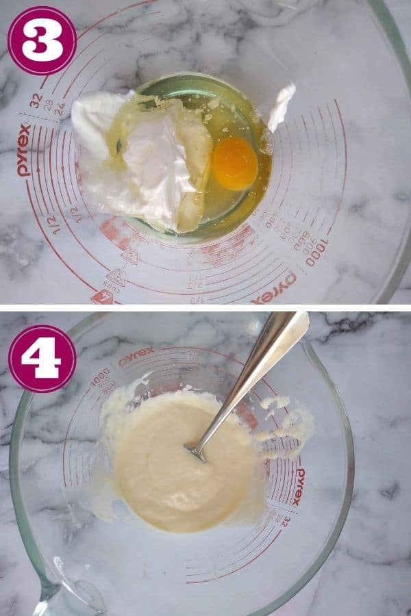 Step 3 photo shows all the wet ingredients in a glass measuring cup Step 4 shows the ingredients mixed together
