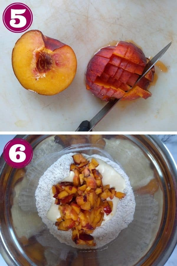 Step 5 shows how to dice a peach into small pieces with a knife Step 6 shows adding the peaches and wet ingredients to the dry ingredients