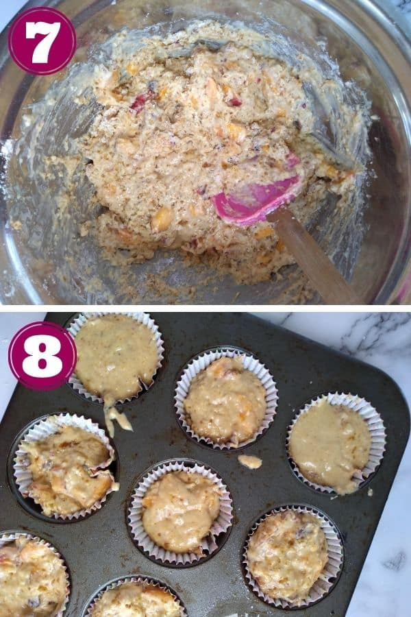 Step 7 shows mixing all the ingredients together with a pink spatula Step 8 shows putting the ingredients into a muffin pan with muffin liners in each cup