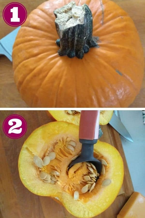Step 1 shows a whole pie pumpkin on a cutting board Step 2, shows the pumpkin quartered and the seeds being scooped out with an ice cream scoop.